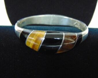 Womens .950 Sterling Silver Bracelet w/ Onyx & Cats Eye , 46.2g E2503