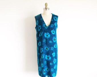 Vintage 60s Blue Knit Jumper, V Neck Flower Print Shift, Mid Century Fabric Dress, Free shipping