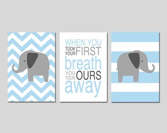 Blue Nursery Decor Elephant Nursery Art Blue - When You Took Your First Breath Quote Chevron Elephant Set of 3 Prints - CHOOSE YOUR COLORS