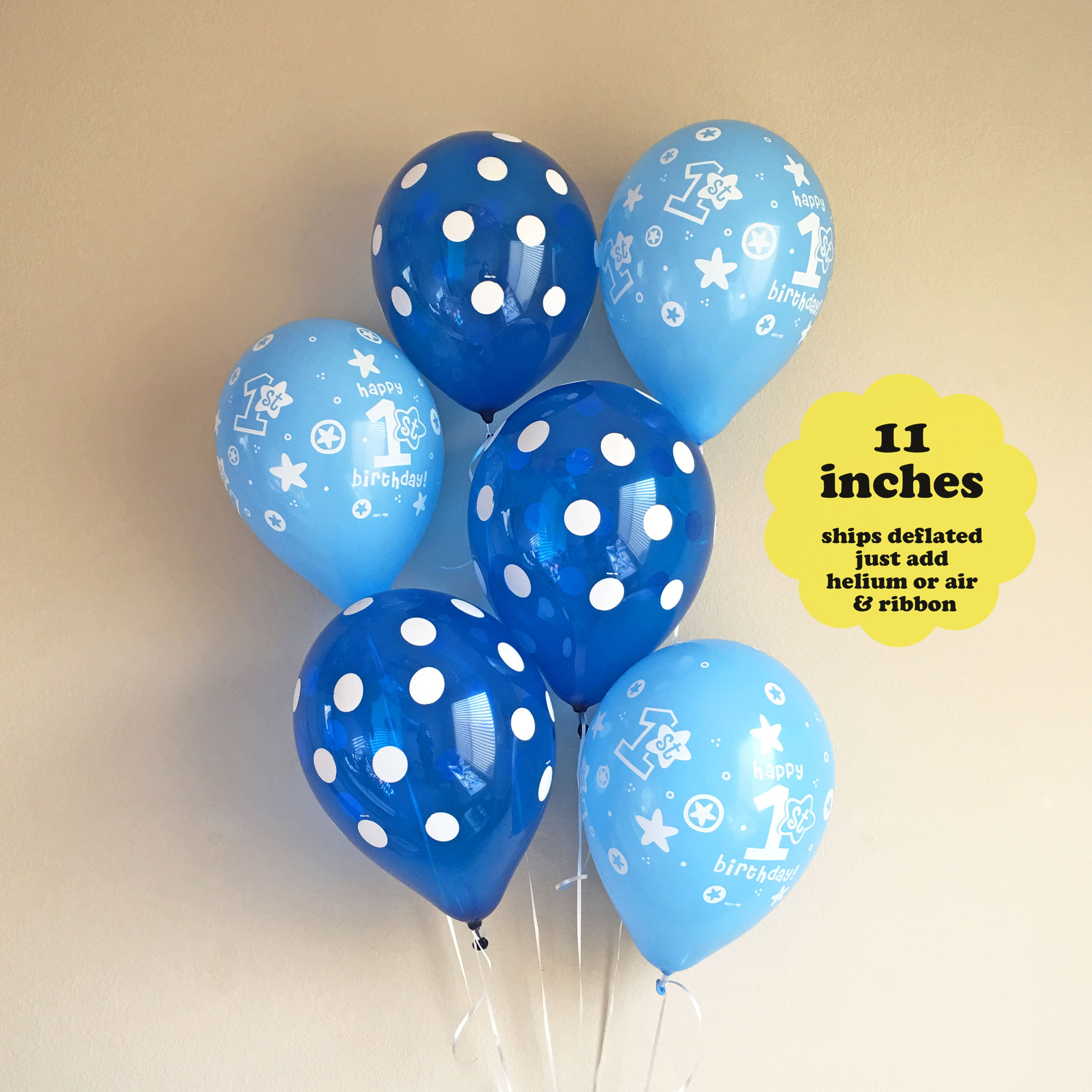 First Birthday Decorations Boy 1st Birthday Balloons 6 pack 11