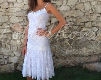 Modern Flapper Dress,Great Gatsby Dress, Flapper Costume, 1920s Dress, 20s Dress, Roaring 20s Dress,Downton Abbey, White Lace Dress CAMILLA