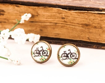 Bicycle Earrings, Bike Earrings,  Bicycle Studs, Bike Post Earrings, Bike Stud Earrings, Bike Lover Gift, Gift For Her, Bicycle, Bike, Gift