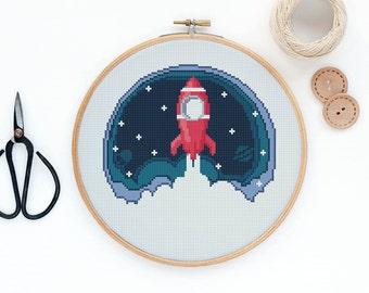 Rocket - Modern space cross stitch pattern PDF - Instant download