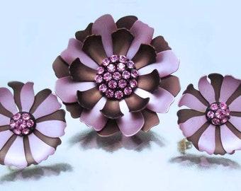 Vintage 1960's Purple Pink and Chocolate Enamel Brooch & Earrings Pink Rhinestones