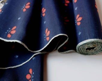 Indigo Blue Silk Tsumugi Kimono Fabric unused bolt by the yard Navy Blue Dark Blue with abstract orange flower 100% Silk OFF the bolt