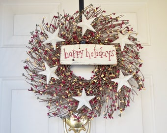 Happy Holidays wreath Burgundy Red Green berries Tin Star Wreath Pearlized Berry Wreath Holiday Front Door wreath Christmas wreath
