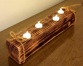 Rustic Wooden Tea Light holder (FREE SHIPPING)