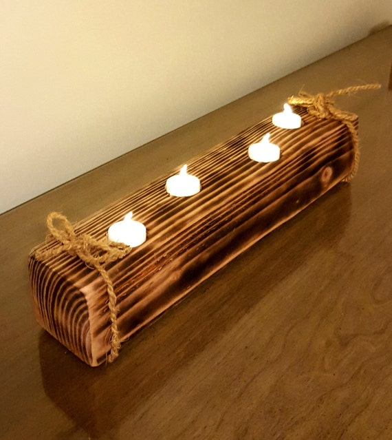 Rustic Wooden Tea Light Holder Free Shipping