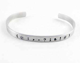 Punctuation Cuff (Ajudstable Bracelet for English Teacher, Writer, Editor Gift)