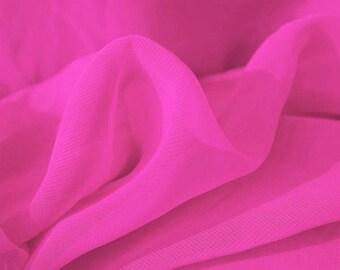 Cerise Chiffon Fabric - 44 Inches Wide