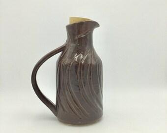Stoneware Olive Oil  Cruet / bottle  - Dark Red / Brown - Wheel thrown - Hand Carved - Hand made
