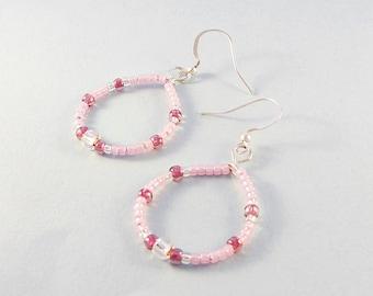 Pink hoop earrings - pink beaded dangle earrings - dangle hoops - handcrafted jewelry - gift for her