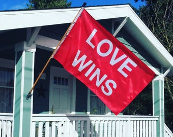 LOVE WINS Screen-printed Flag (Various Sizes)
