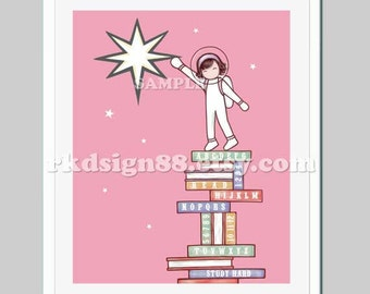 Childrens wall art illustration, baby girl nursery art, numbers wall art, astronaut art, kids wall art, alphabet print, Reach The Star