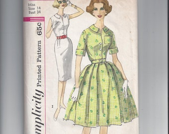 Simplicity 3486 Pattern for Misses' One Piece Dress with 2 Skirts, Size 14, From 1962, Vintage Pattern, Home Sewing Pattern. 1962 Fashion