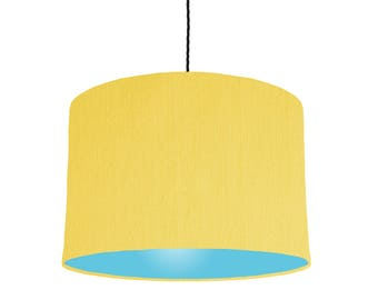 Yellow lampshade etsy mix match lemon yellow lampshade with a choice of 20 lining colours mozeypictures Image collections