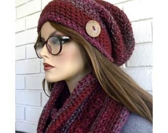 Foulard et chapeau ensemble, accessoire de l'hiver, chaud écharpe d'hiver, fait à la main, au crochet Slouch Hat, fil acrylique, cadeau pour les femmes, cadeau pour fille ADO