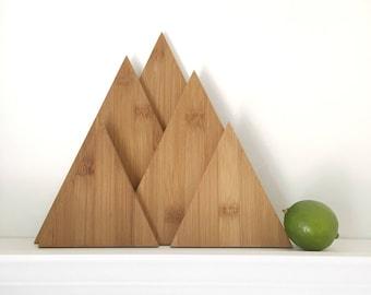 Mountain Cutting Board Set, Mountain Decor, Eco Friendly Kitchen Decor, Home Decor, Boho Home Decor, Geometric Home Decor