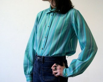 ON SALE Tweed Turquoise Striped Blouse