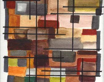"Original Hand Painted Modern Abstract Watercolor Painting in Shades of Brown, Rust, Tan and Green - 9"" x 12"""