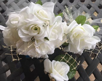 Seaside Seduction White Rose and shell bouquets and boutonnière set with lace and natural netting accents