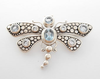 Silver sterling  Dragonfly Brooch four blue Topaz gemstones white  zirconia/ Bali Handmade jewelry / silver 925 / 2.15 inches long