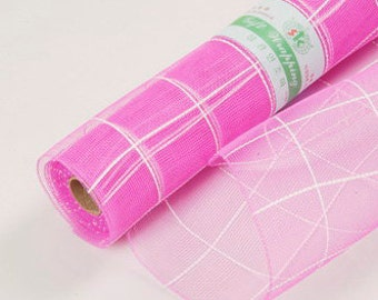 Check Hot Pink Mesh Wraps 21in x 10yd Poly Mesh Roll, Flower Wrap Bouquets, Hot Pink Mesh Wrap, Gift Basket Mesh, Flower Wrap