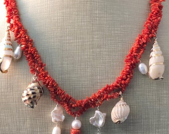 Coral Colier Pearls Silver shells.      Cleopatrartstones
