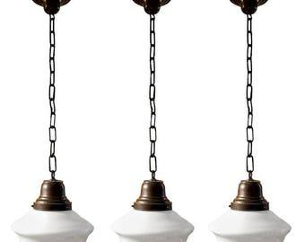 Set of Vintage 1920s Schoolhouse Pendant Lights