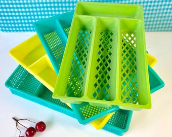 Vintage Silverware Trays - YOU CHOOSE One or More -  Plastic Flatware Cadd y- Green is SOLD - Airstream Decor - Mid Century 1960's