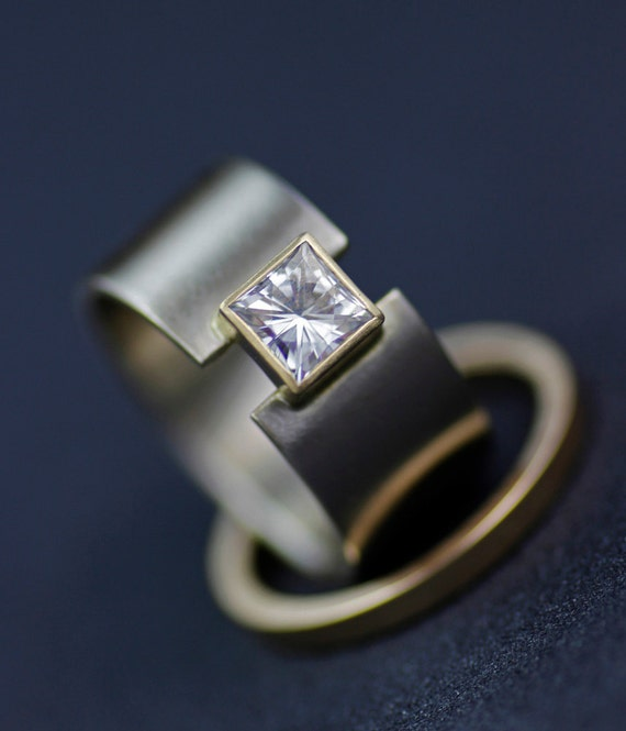 real wedding engagement set bands princess cut center ring