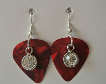 Dark Red Guitar Pick with Diamond and Silver Fishhooks