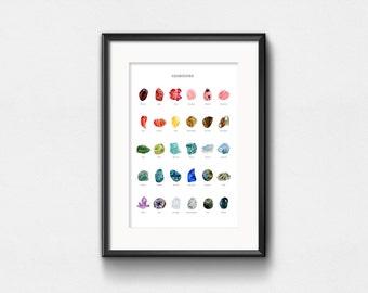Impression d'Art pierres précieuses | Infographie aquarelle de pierres et de minéraux | Wall Decor | 11 x 14 | 13 x 19