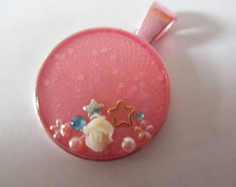 Pink resin flower embellished  pendant 25mm no chain included