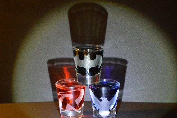 Batman, Robin, Nightwing etched shot glass set of 3 fan art