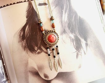 Necklace dream catcher red and silver