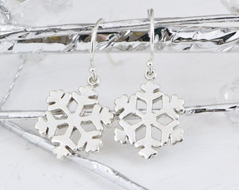 Snowflake Earrings, Sterling Silver Snowflake Earrings, Snowflake Jewelry, Christmas Gift, Sterling Dangle Earrings, Gift For Her