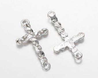 Crystal clear 33 mm silver plated cross