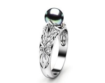 Black Pearl Engagement Ring White Gold Ring Solitaire Engagement Ring Gold Pearl Ring