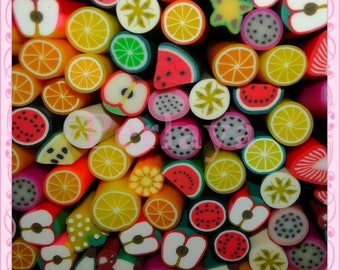 Mixed 50 REF305 fruit fimo canes