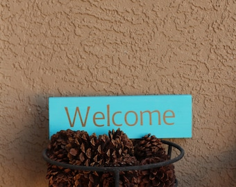 welcome wood sign turquoise and copper 12x4