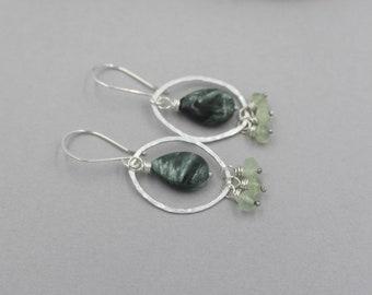 Seraphinite and Prehnite Earrings, Sterling Silver Hammered Hoops with Gemstone Dangles, Green Earrings, Handmade Artisan Earrings