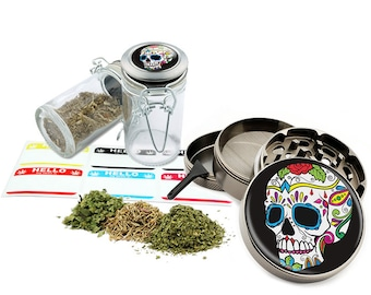 "Sugar Skull - 2.5"" Zinc Alloy Grinder & 75ml Locking Top Glass Jar Combo Gift Set Item # G021615-029"