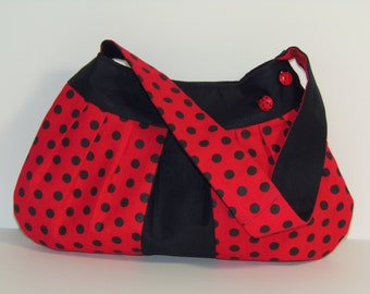 Ladybug Purse Red and Black Polka Dot Shoulder Tote Bag