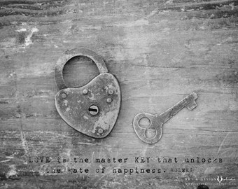 Rustic Home Decor Art, Happiness Print, Inspirational Quote, Gratitude Quote, Heart Padlock Decor, Skeleton Key Decor, Love Quote, Love Art