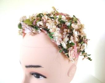 Vintage Pink Floral Woodland Bridal Crown