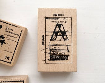 SALE 40% OFF Sketch Rubber Stamps / Retro Rubber Stamp