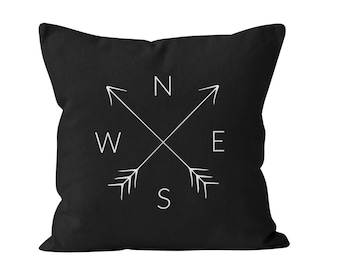 54 colors NSEW Compass Pillow Cover, North South East West Pillow Cover, Cardinal Directions Pillow Cover, Compass Arrows Pillow Cover