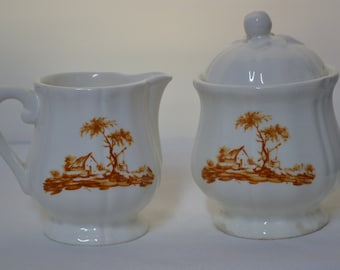 Unique Vintage Creamer & Sugar Set - transferware - white