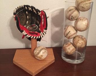 Solid Oak Baseball Glove Holder Display